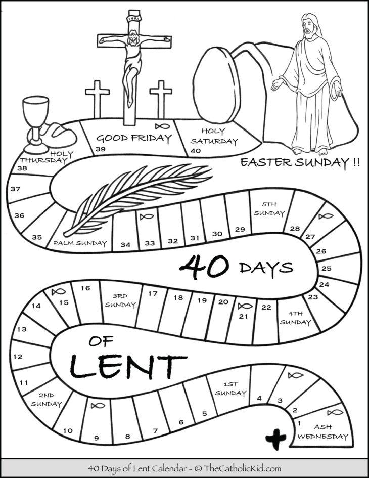 Kids Lent Calendar Coloring Page
