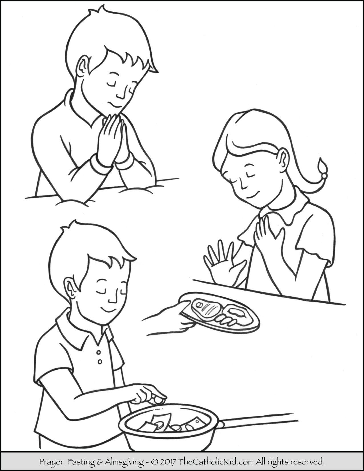 Coloring pages about gving ~ Lent Children Pray Fast Almsgiving Coloring Page