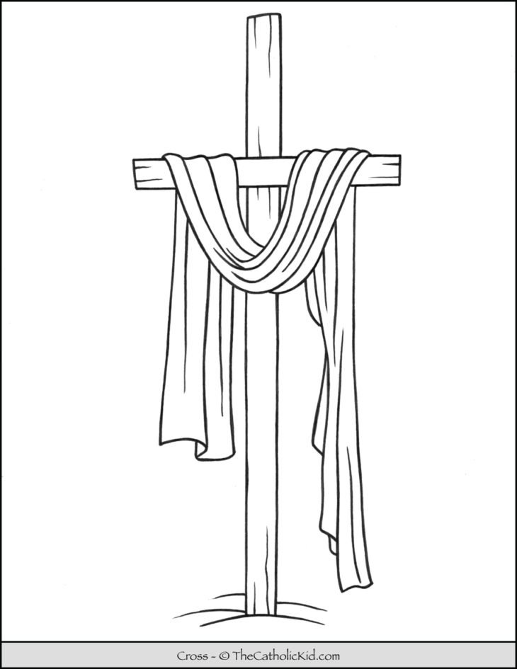 Lent Coloring Page Cross Draped