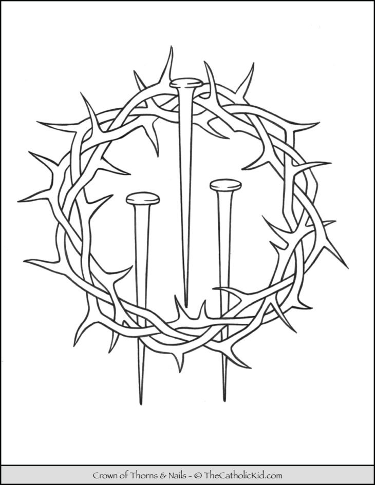 Lent Coloring Page Crown of Thorns Nails