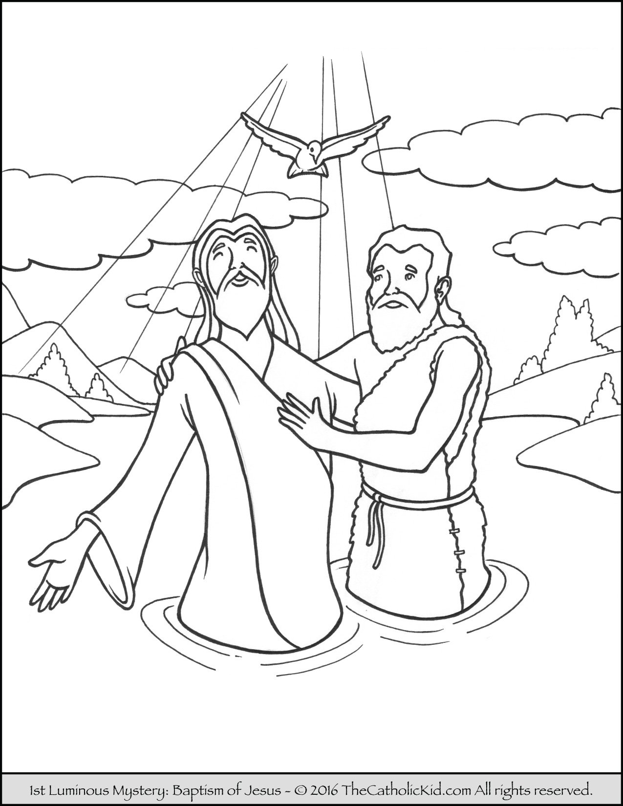 Luminous Mysteries Rosary Coloring Pages - Baptism of Jesus in the Jordan