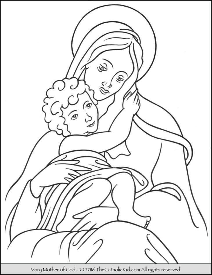 Mary Mother of God Coloring Page