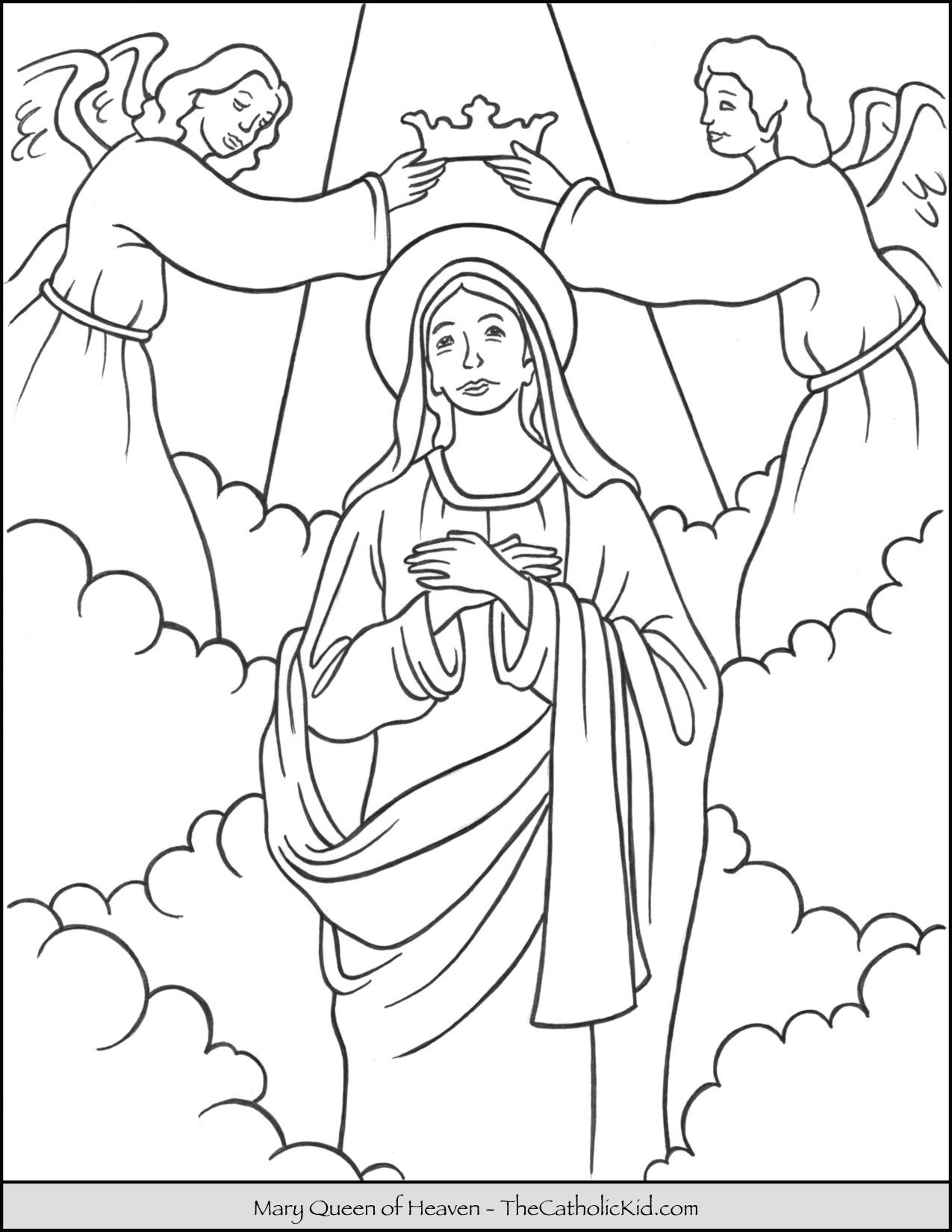 Mary Queen Of Heaven Coloring Page Thecatholickid Com