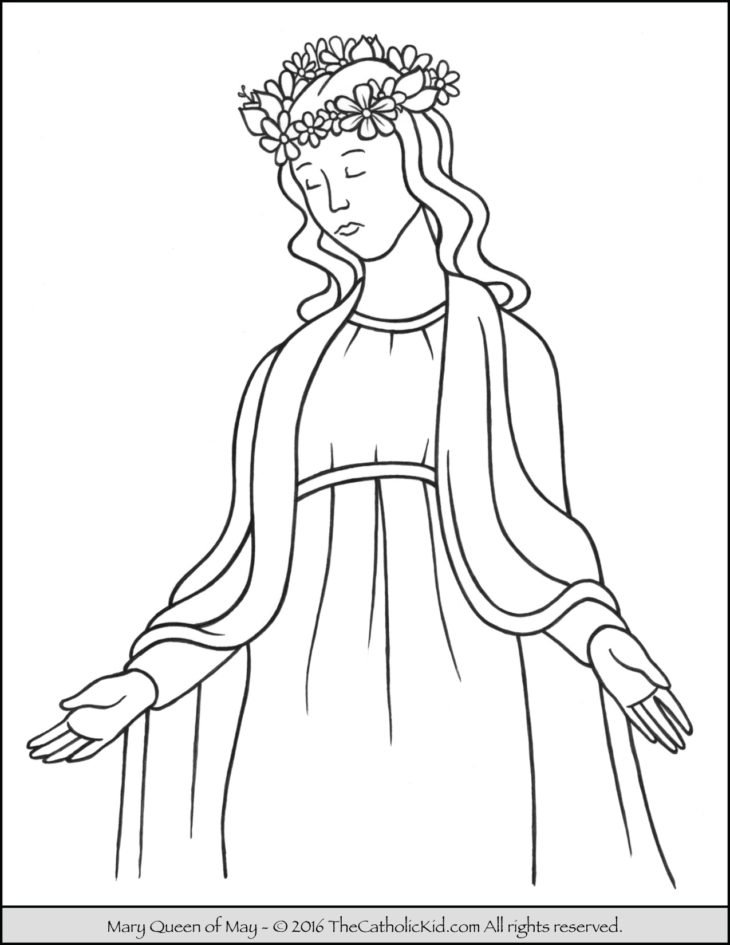 Coloring page of Mary, Queen of May that can be used to teach children ...