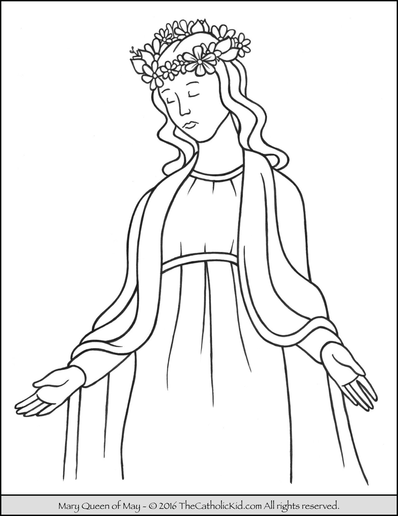 Mary Queen of May Crowning Coloring Page The Catholic Kid