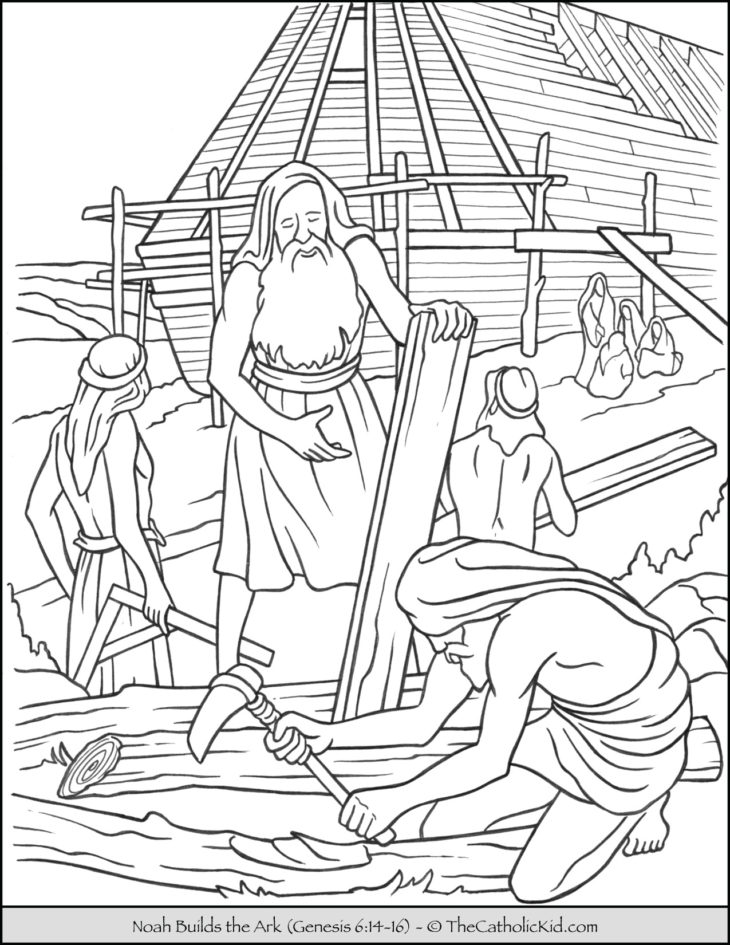 Noah Building The Ark Coloring Page