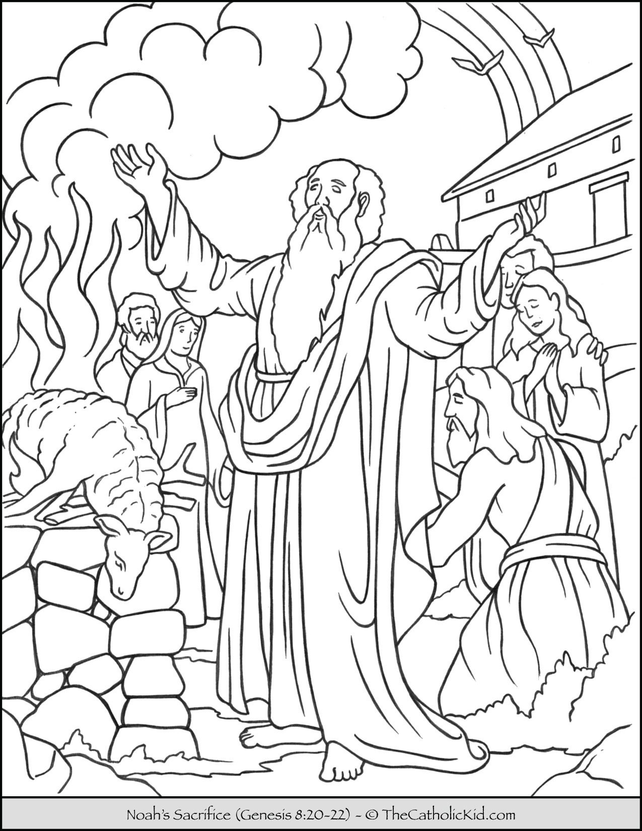 Noah S Sacrifice Bible Coloring Page TheCatholicKid