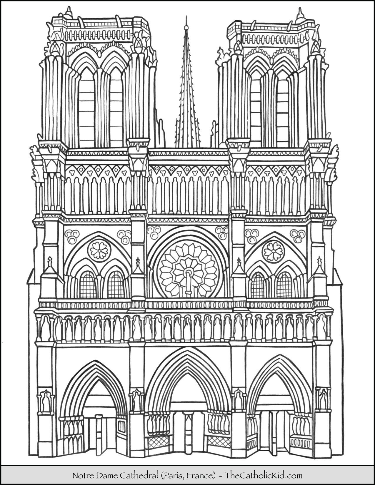 Notre Dame Cathedral Coloring Page Thecatholickid Com