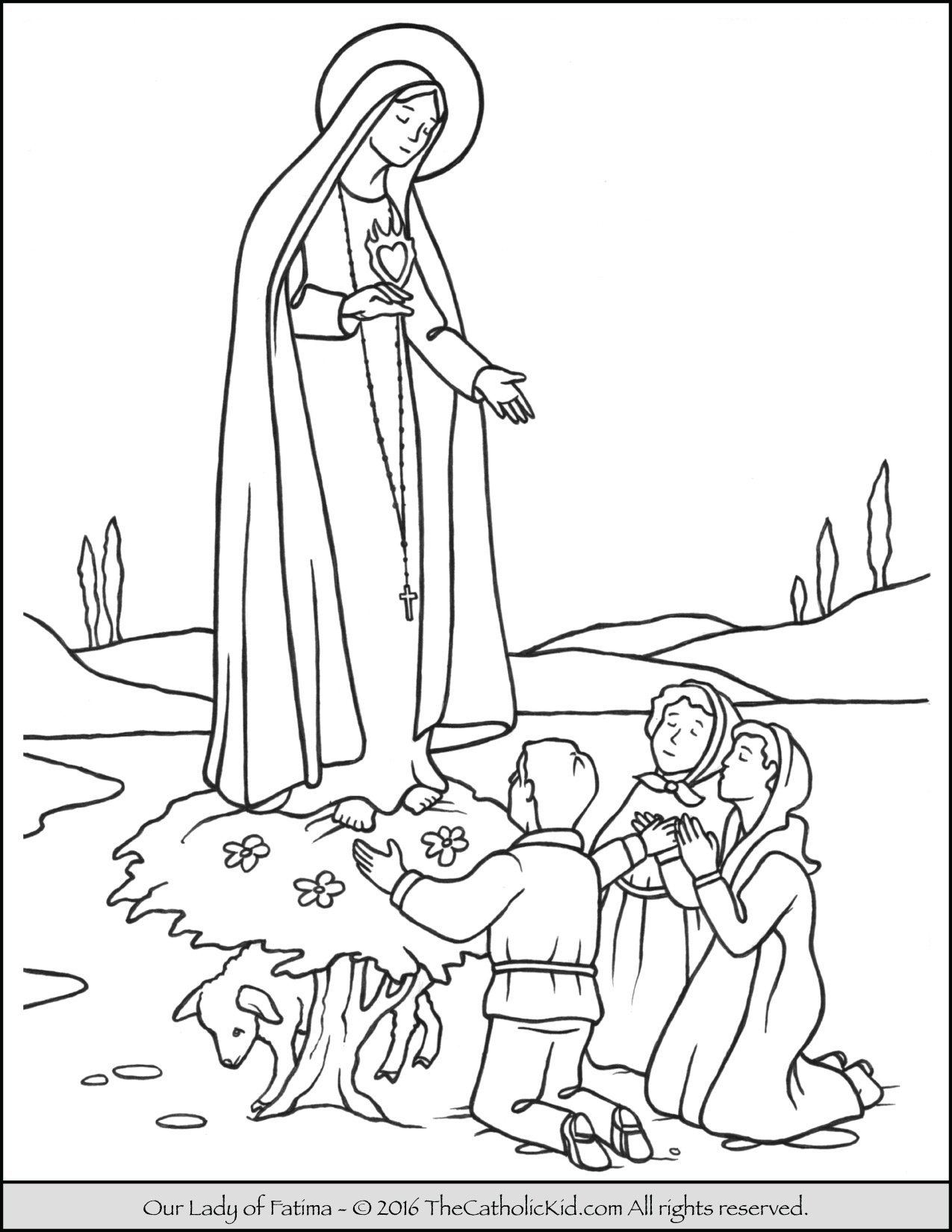 Our Lady of Fatima Coloring Page TheCatholicKid