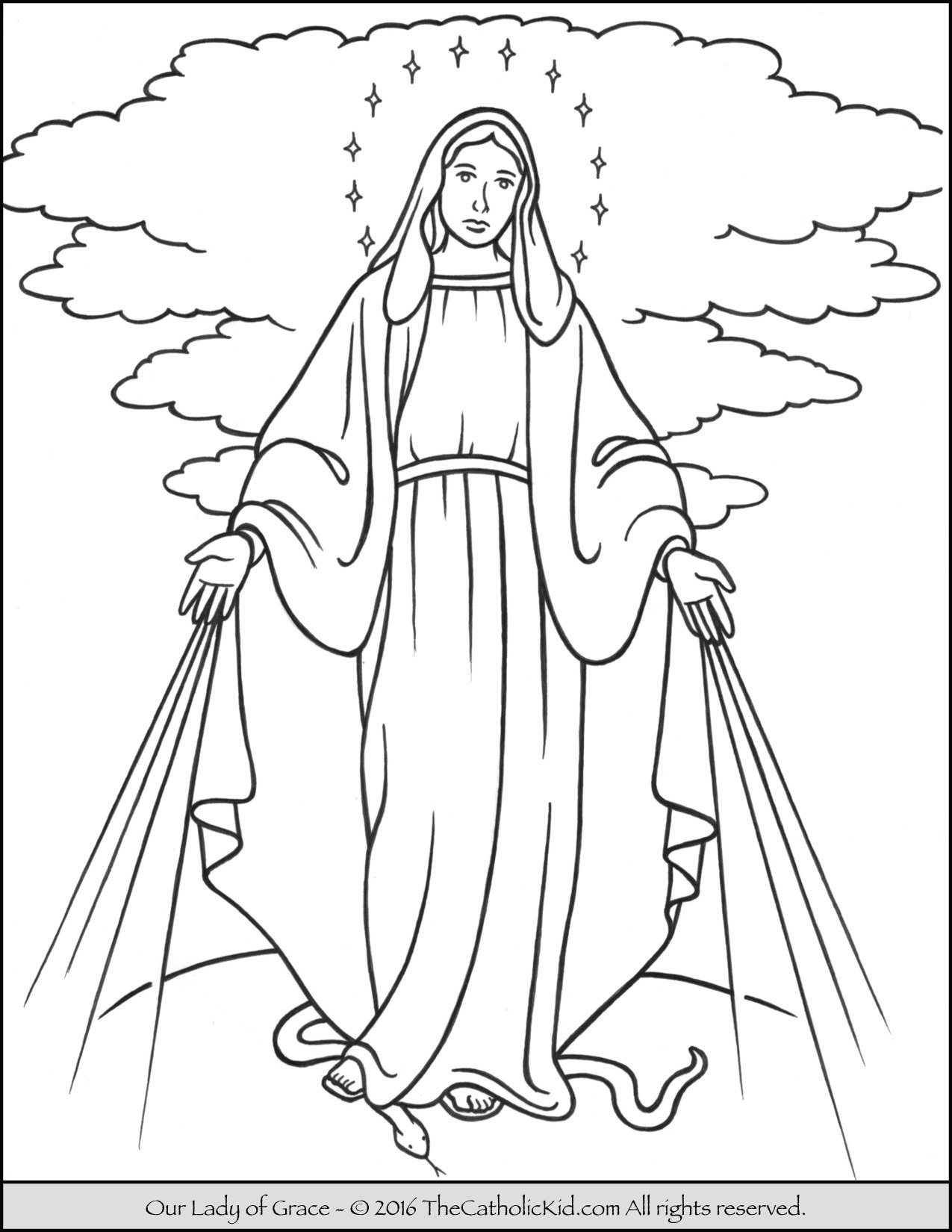 our lady of grace coloring page mary thecatholickidcom