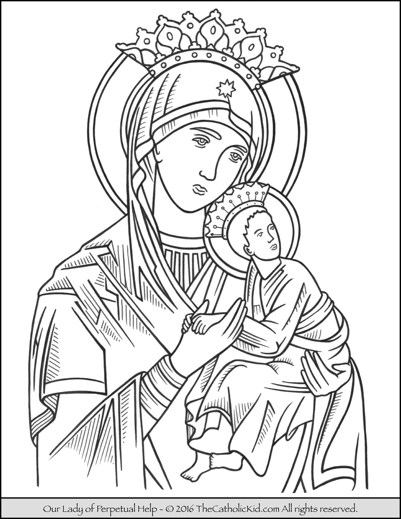 Printable coloring pages virgin mary - Our Lady Of Perpetual Help Coloring Page