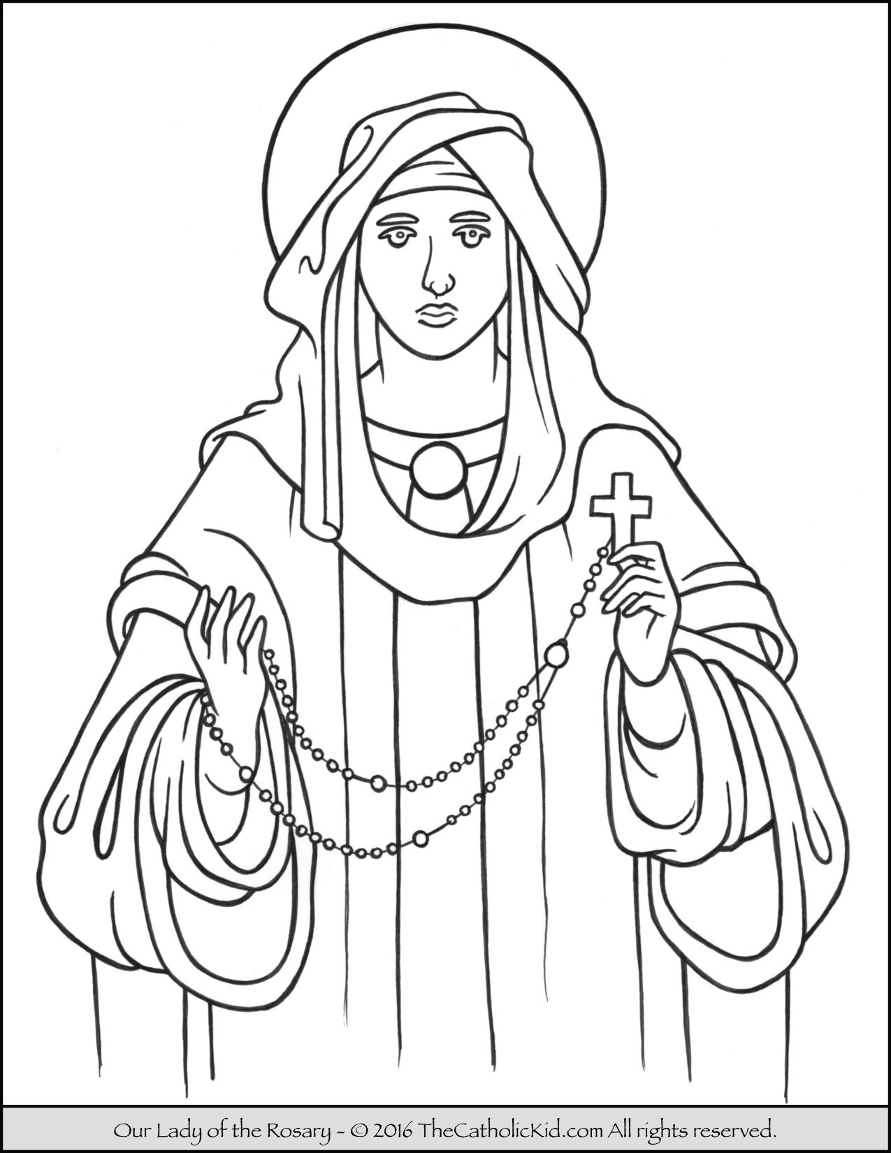 Our Lady of the Rosary Coloring Page
