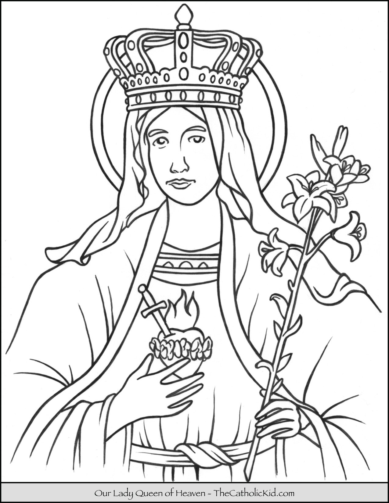 Our Lady Queen of Heaven Coloring Page