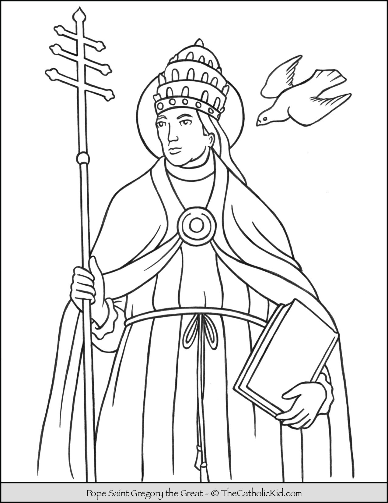 Pope Saint Gregory the Great Coloring Page