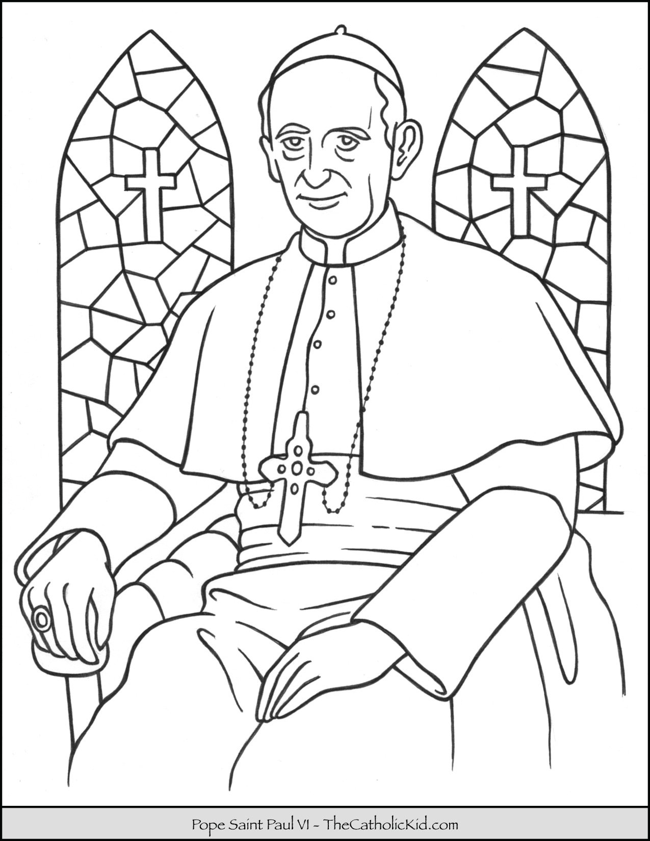 Pope Saint Paul VI Coloring Page - TheCatholicKid.com