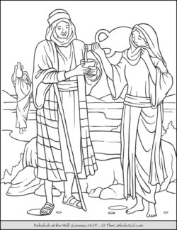 Rebekah At The Well Bible Coloring Page