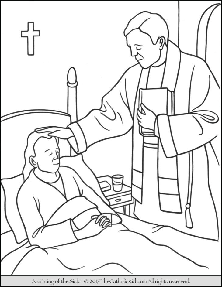 sacrament of the anointing of the sick coloring page - Coloring Pages Catholic Sacraments