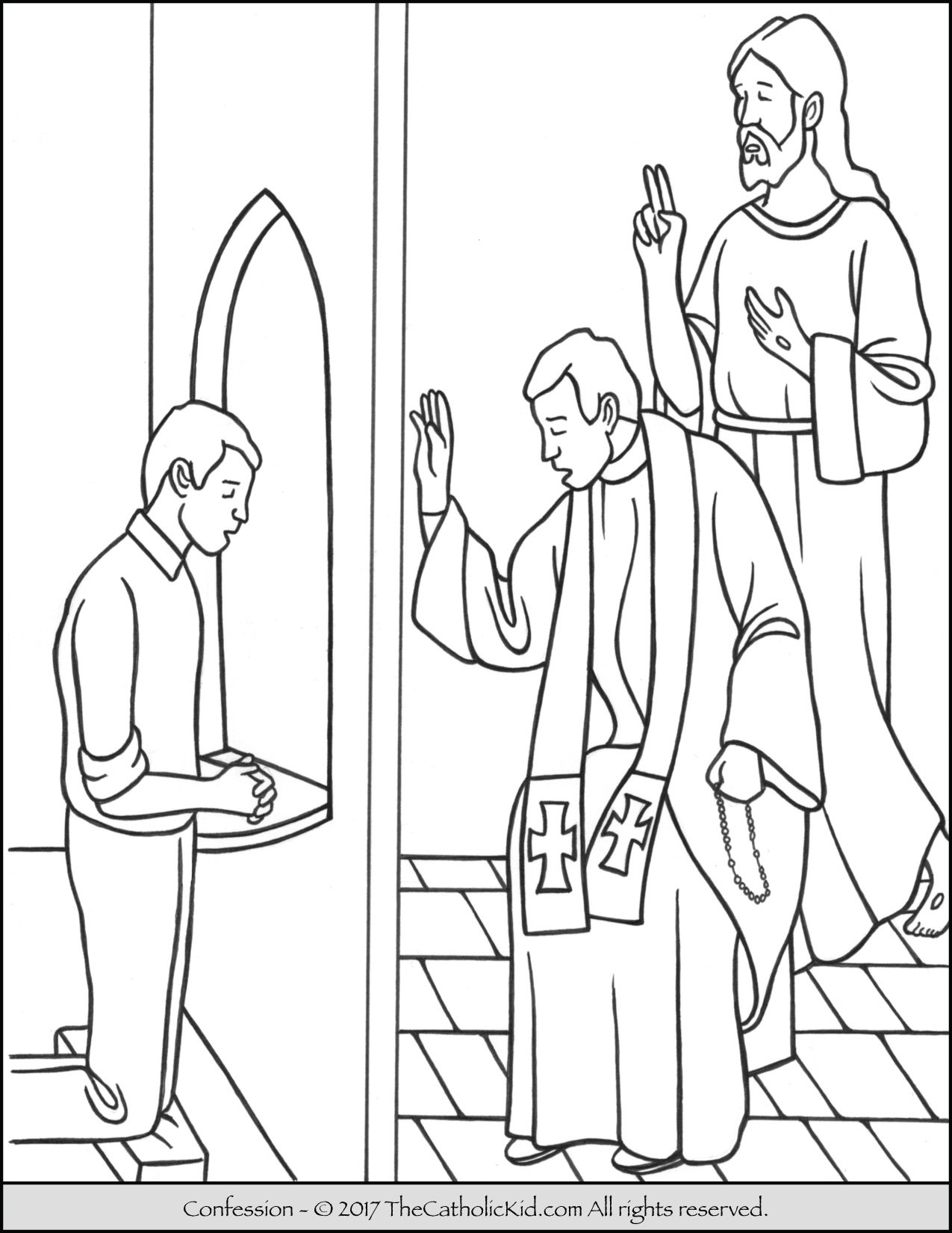 Reconciliation Coloring Pages Sacrament Of Confession Coloring Page  Thecatholickid
