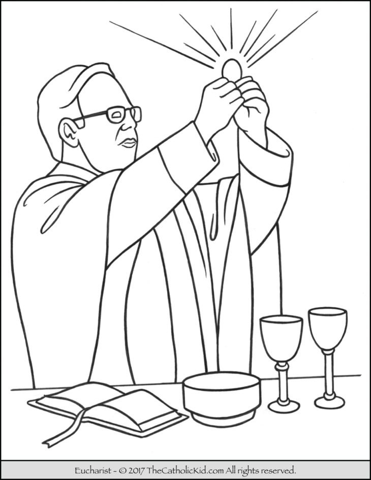 sacrament of holy communion the eucharist coloring page - Coloring Pages Catholic Sacraments