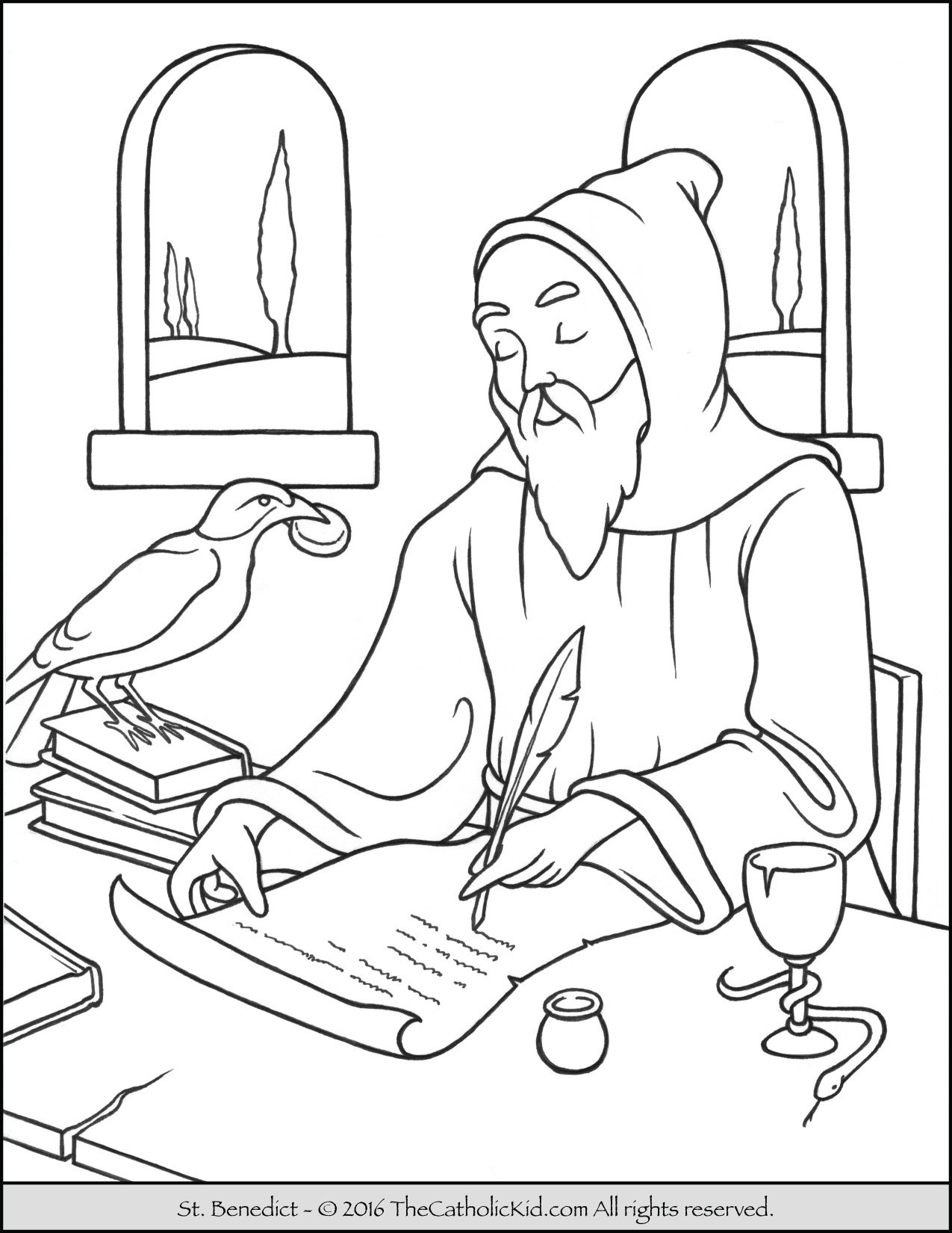 Saint Benedict Coloring Page - The Catholic Kid
