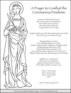Saint Corona Coloring Page With Pandemic Prayer