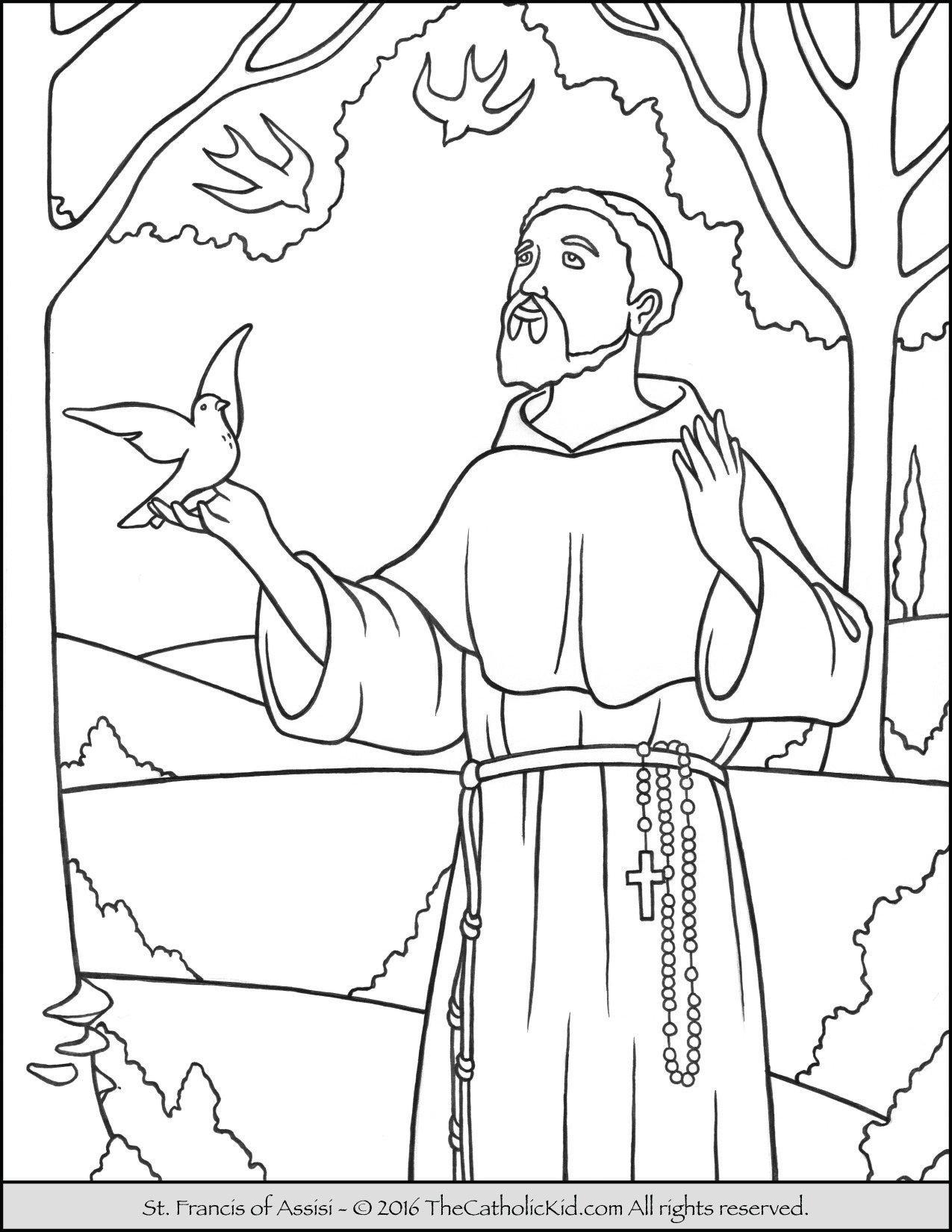 st francis of assisi coloring pages - saint francis coloring page