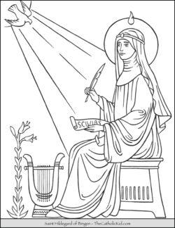 Saint Hildegard of Bingen Coloring Page