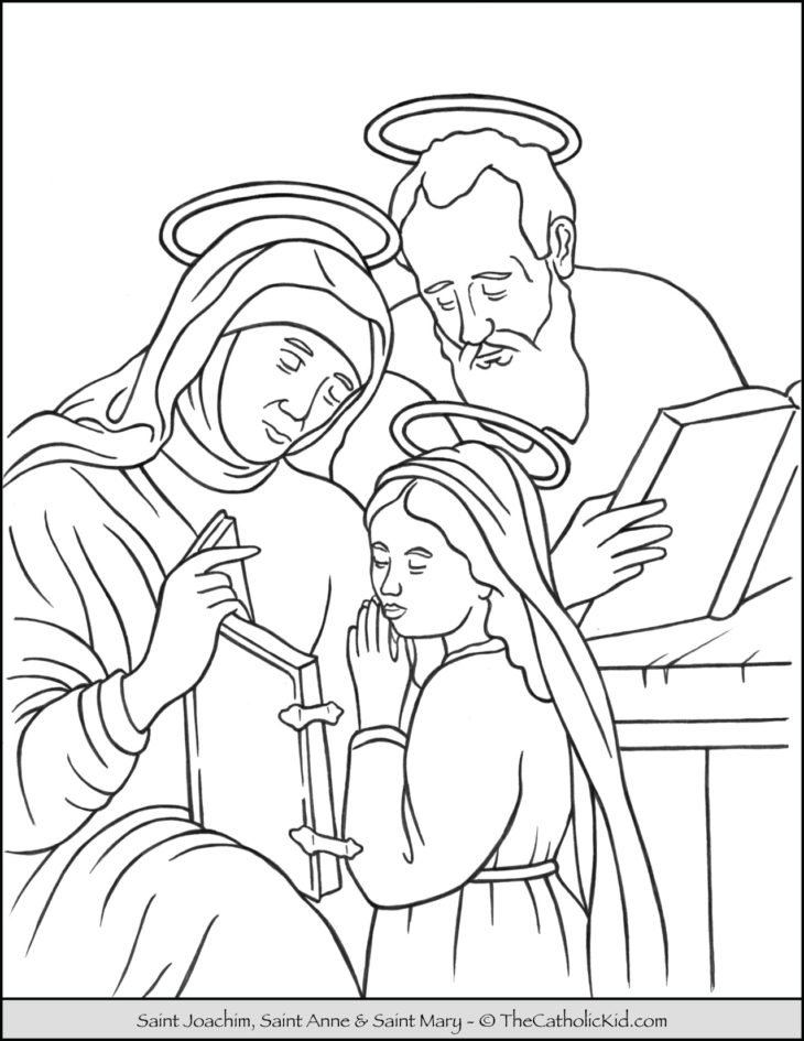 Saint Joachim Anne and Mary Coloring Page