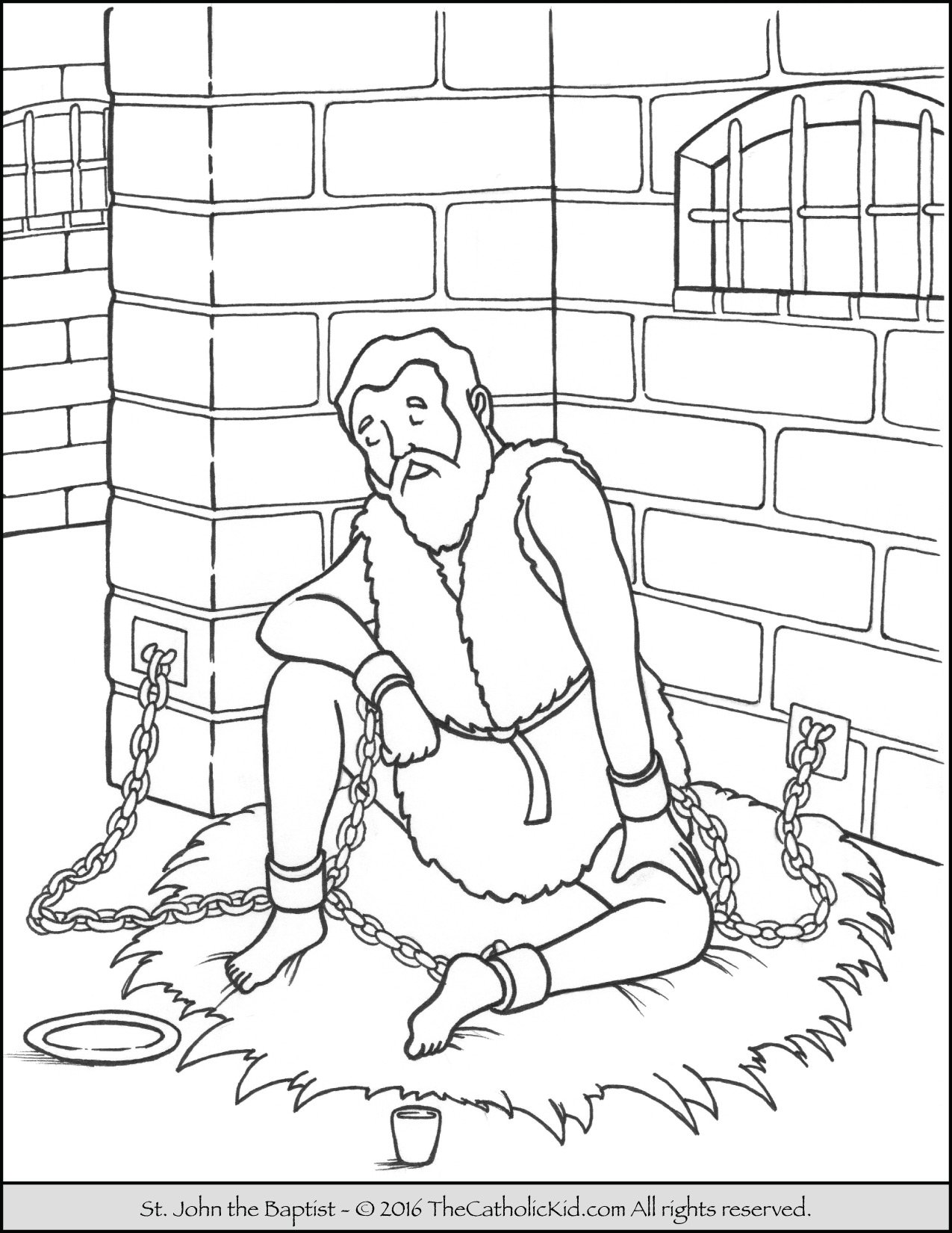 Free coloring pages john the baptist - Saint John The Baptist Imprisoned Coloring Page