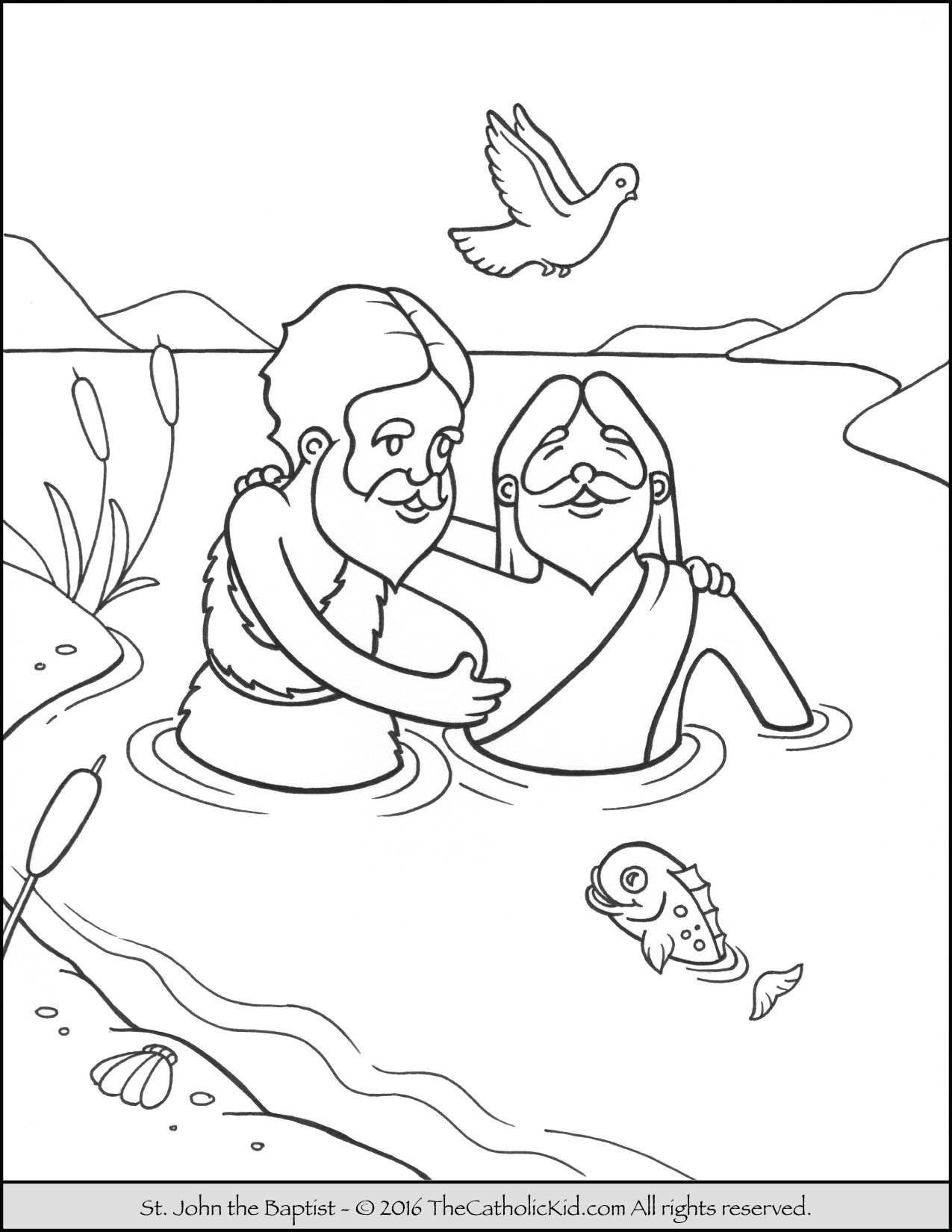 Free coloring pages john the baptist - Saint John The Baptist Jordan River Coloring Page Cartoon