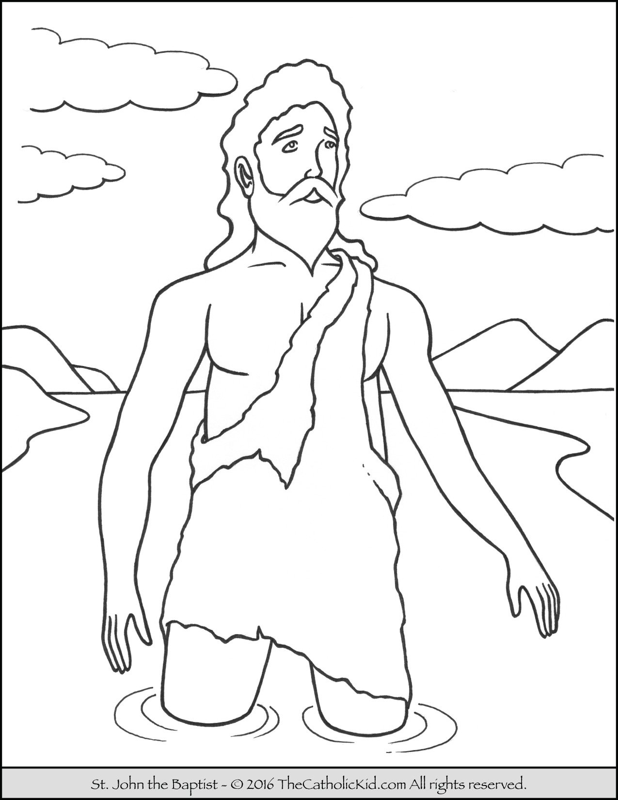 Saint John the Baptist Jordan River Coloring Page