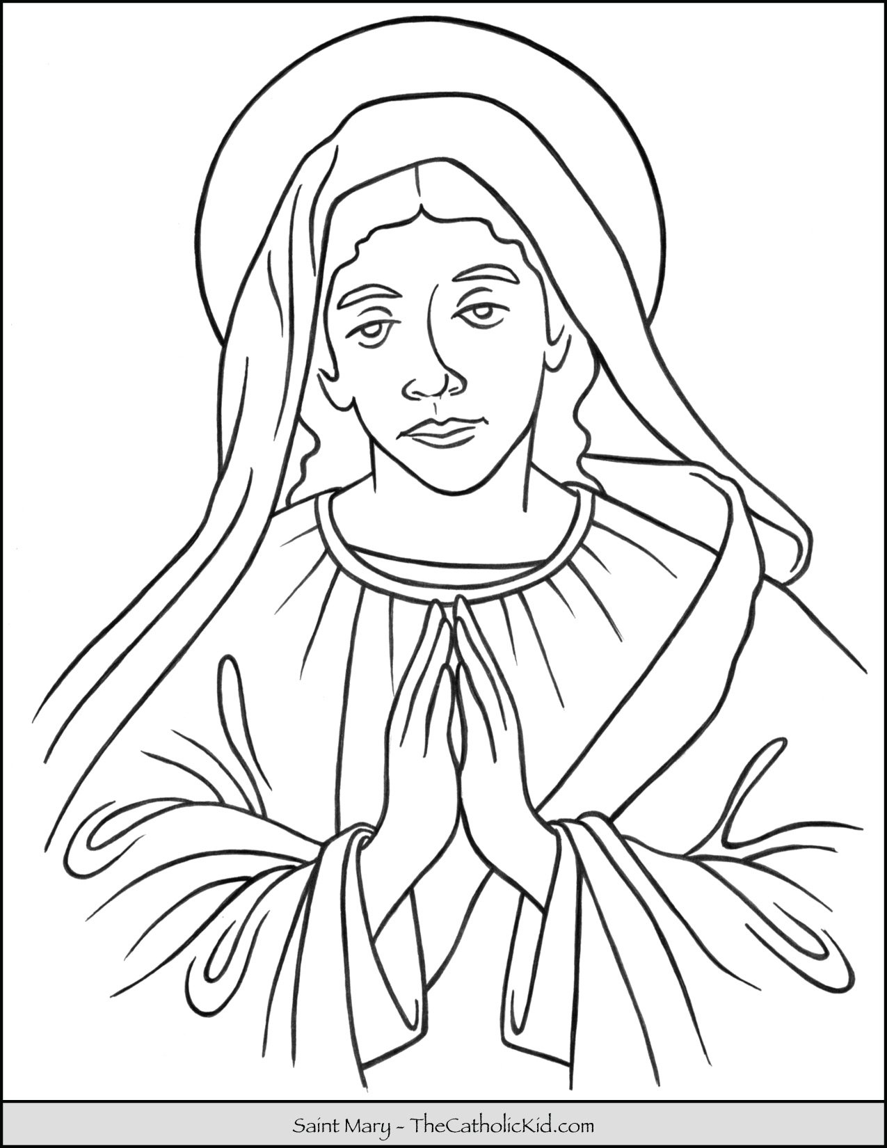 Saint Mary Coloring Page Thecatholickid Com