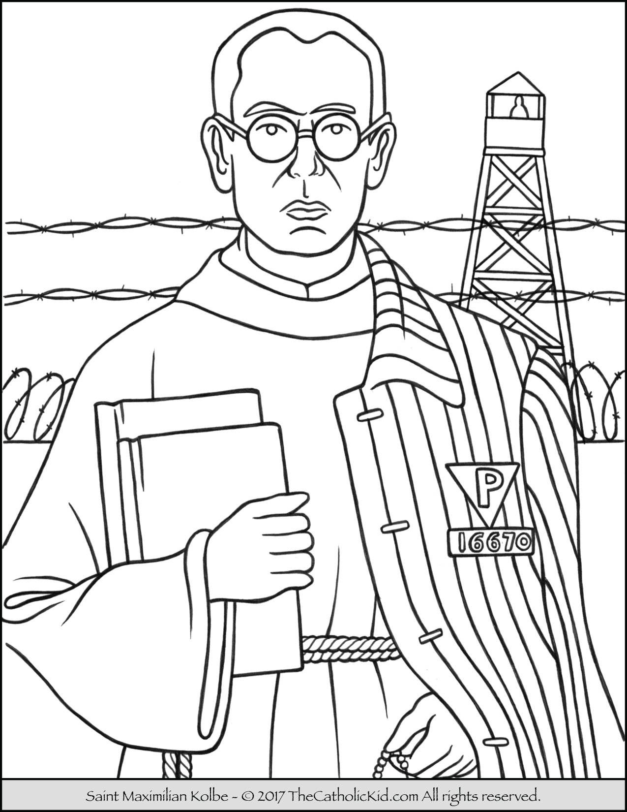 Saint maximilian kolbe coloring page for Catholic coloring book pages