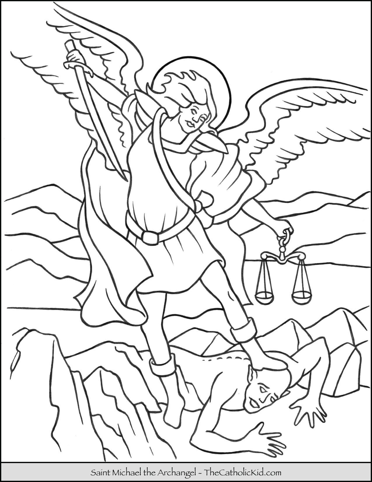Saint Michael Archangel Coloring Page
