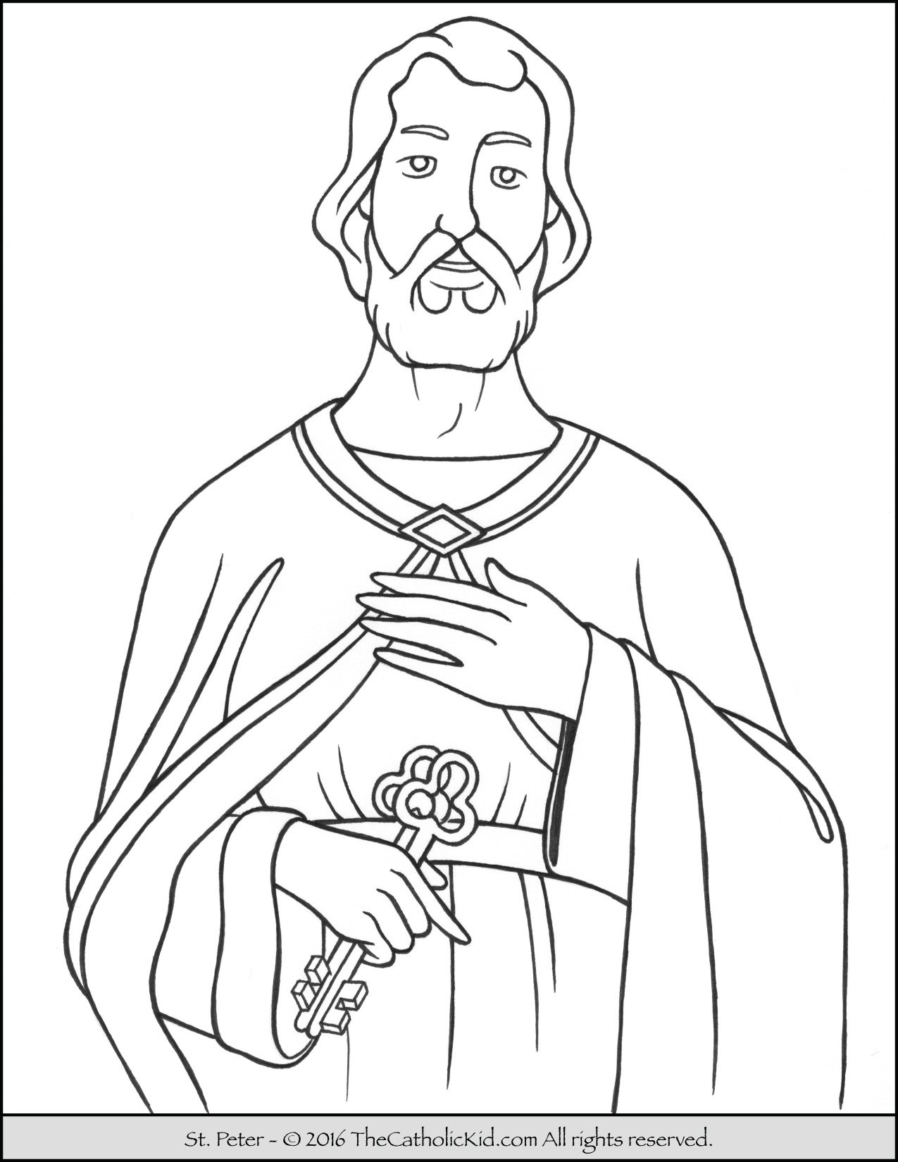 Saint Peter Coloring Page - The Catholic Kid