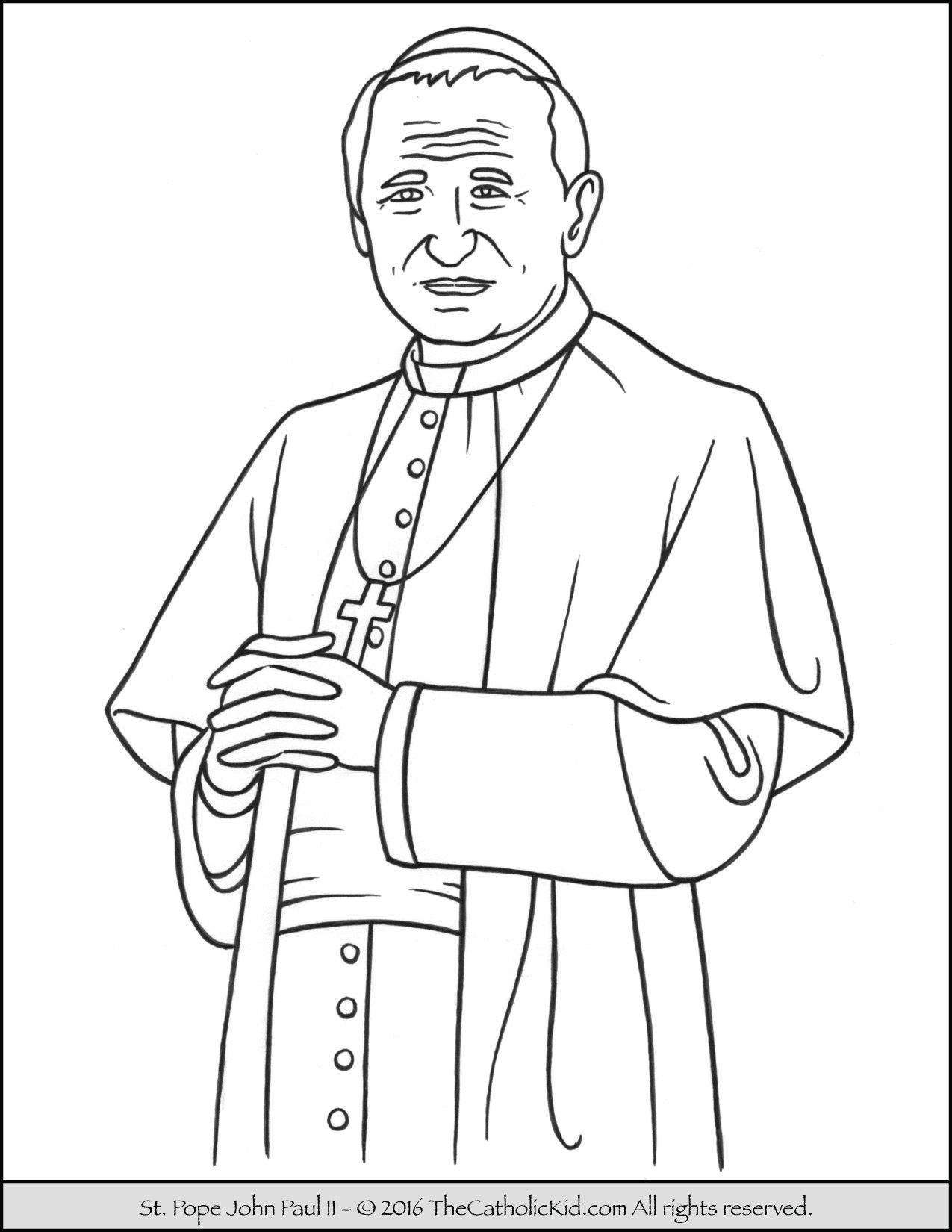 saint pope john paul ii coloring page thecatholickid com