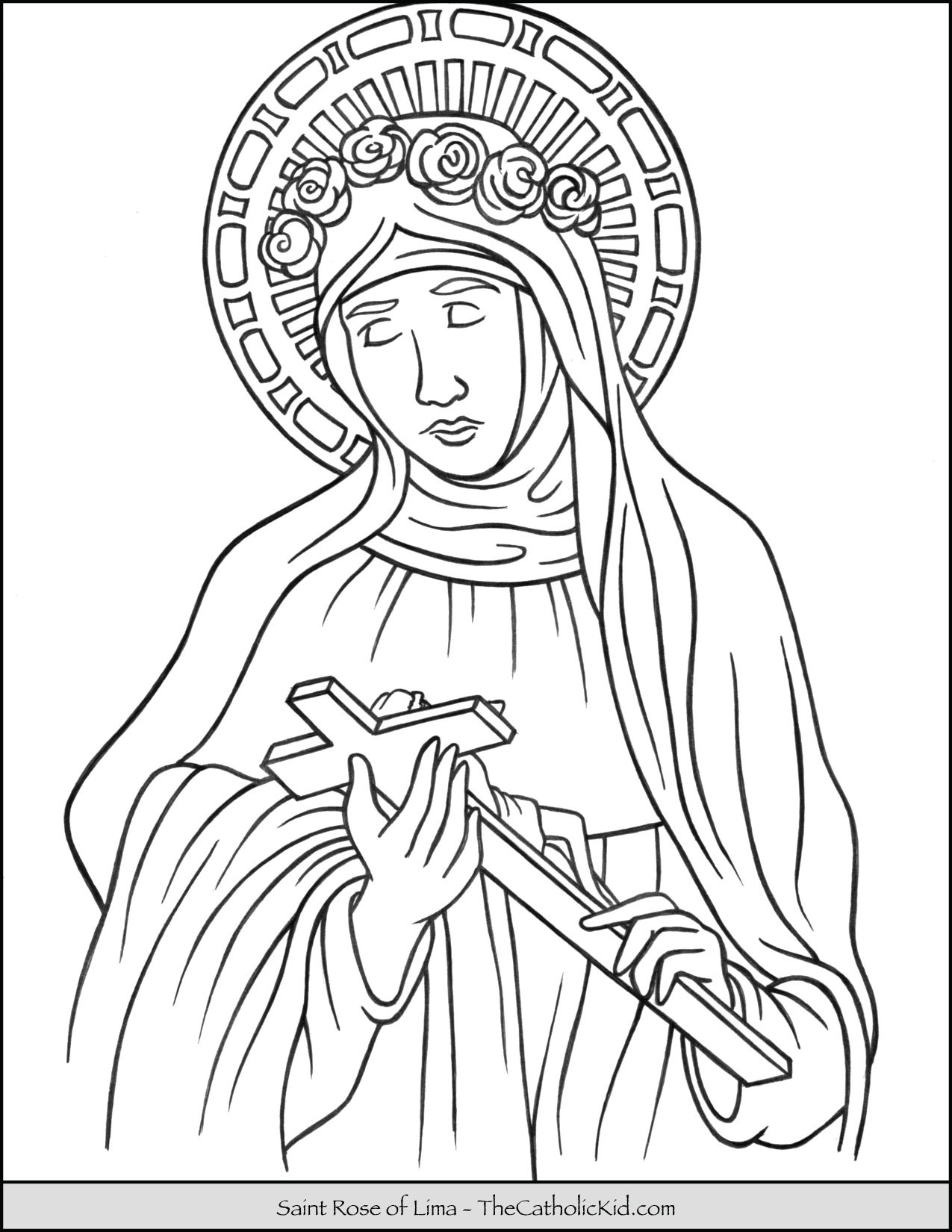 Saint Rose Of Lima Coloring Page Thecatholickid Com