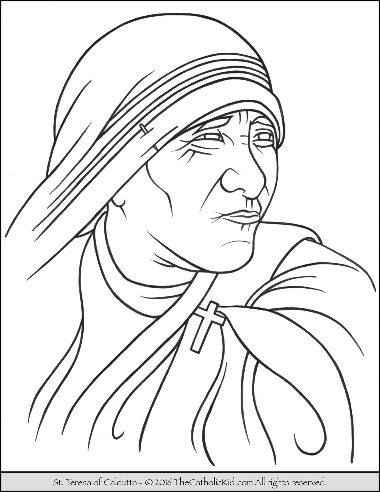 Saint Teresa of Calcutta Coloring Page - TheCatholicKid.com