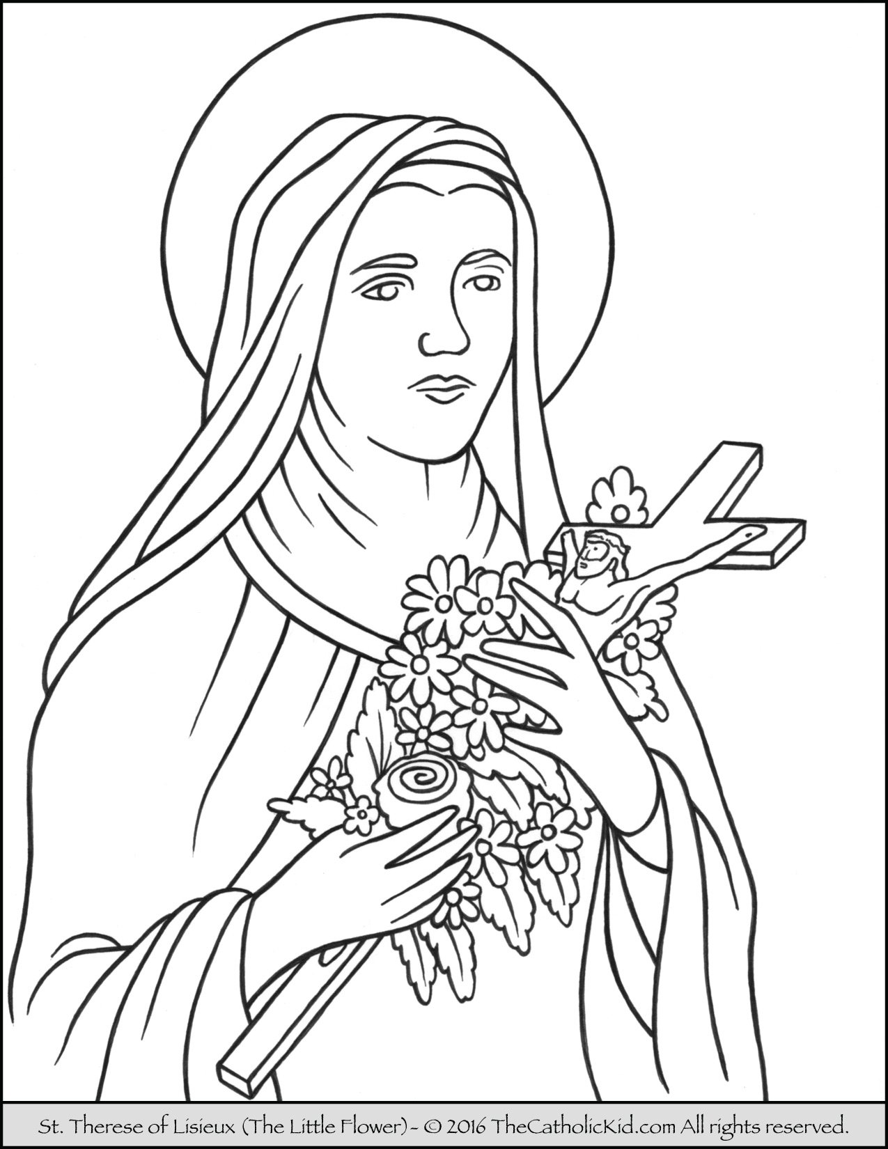 Saint Therese of Lisieux - Little Flower Coloring Page