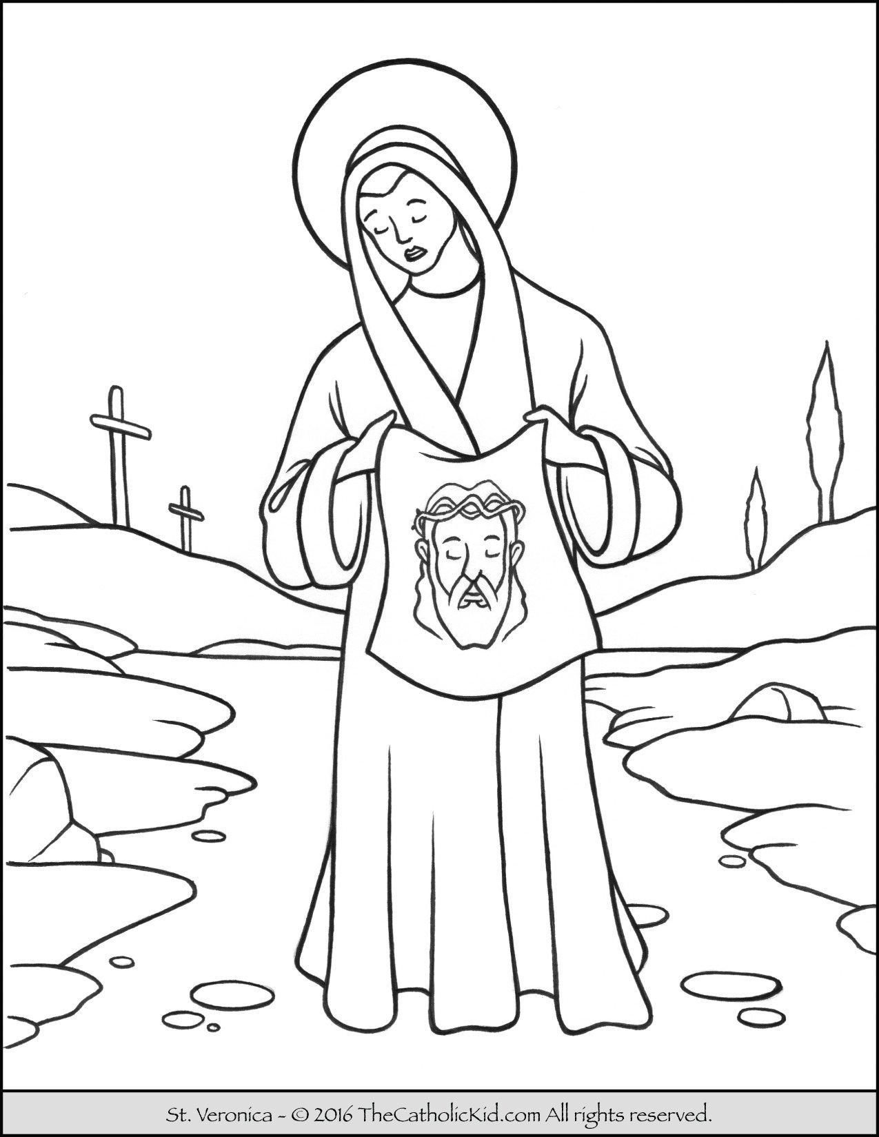 Saint Veronica Coloring Page - The Catholic Kid