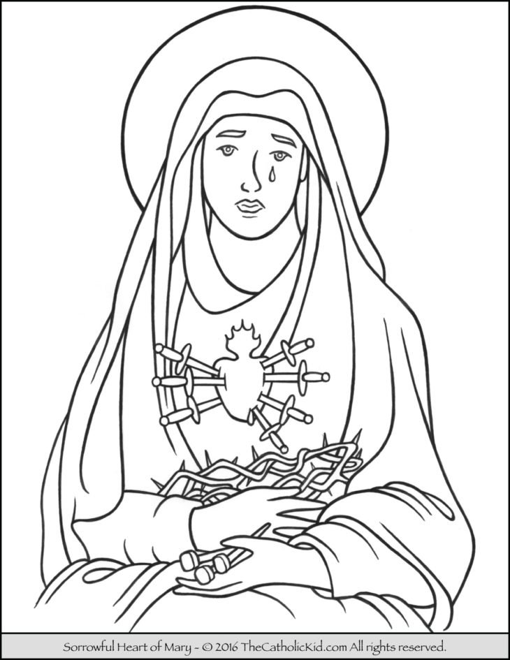 sorrowful heart of mary coloring page