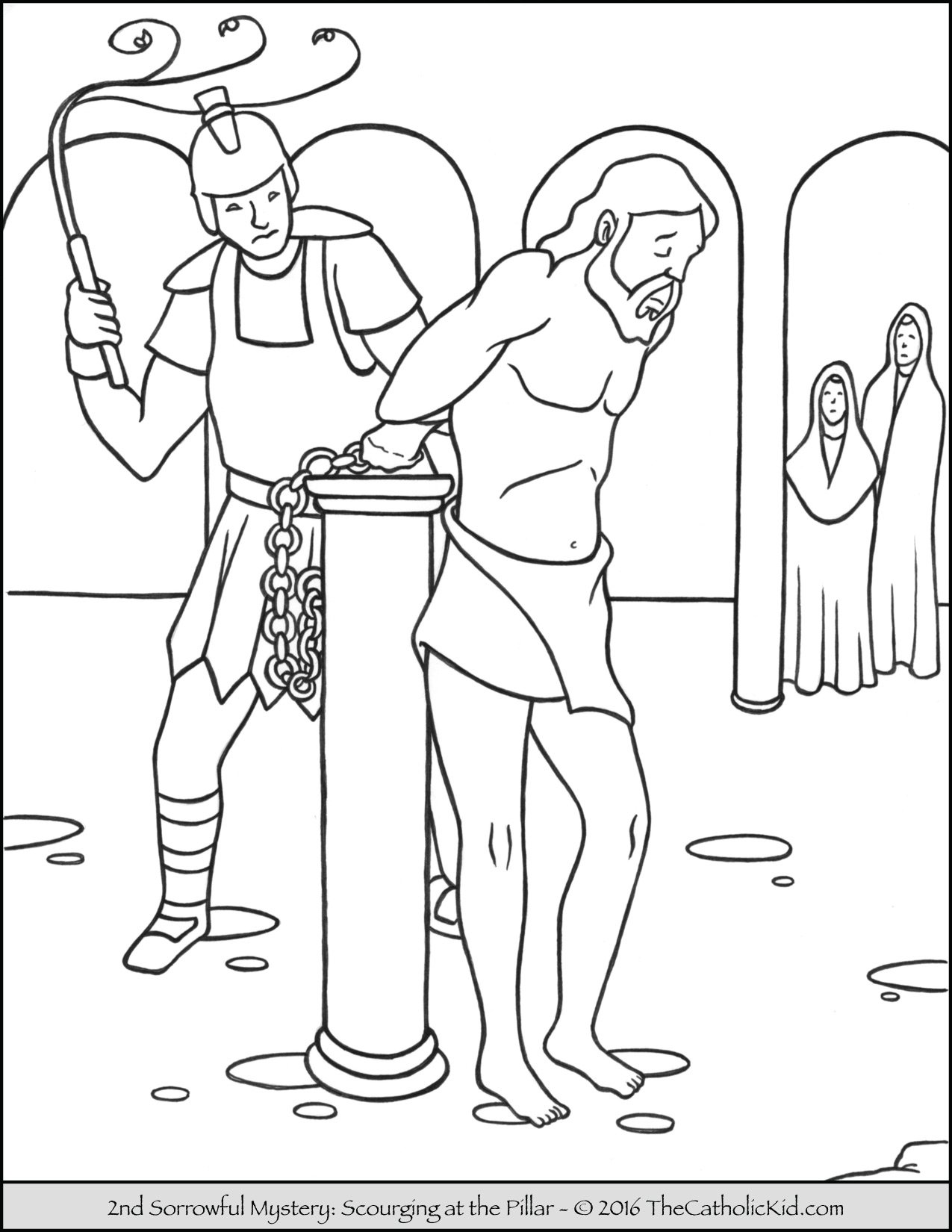 Sorrowful Mysteries Rosary Coloring Pages - The Scourging at the Pillar