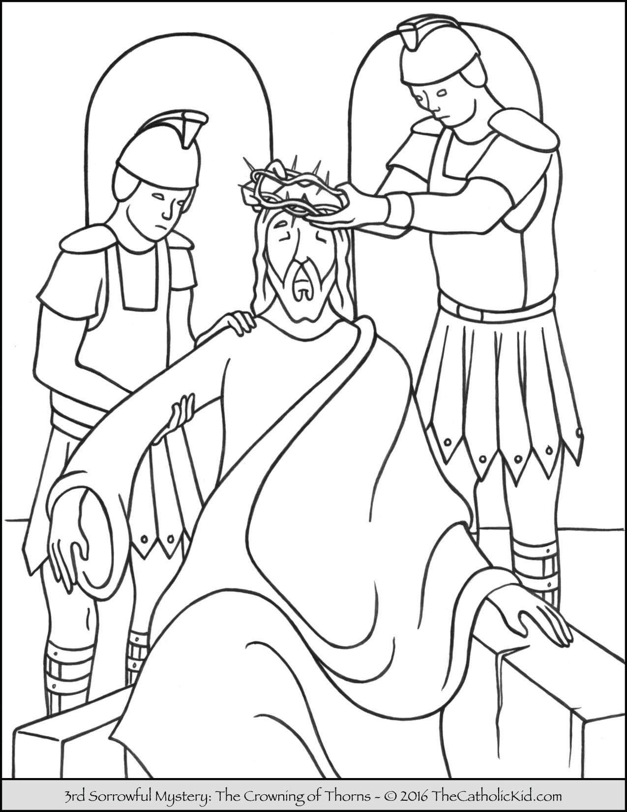Sorrowful Mysteries Rosary Coloring Pages - The Crowning of Thorns