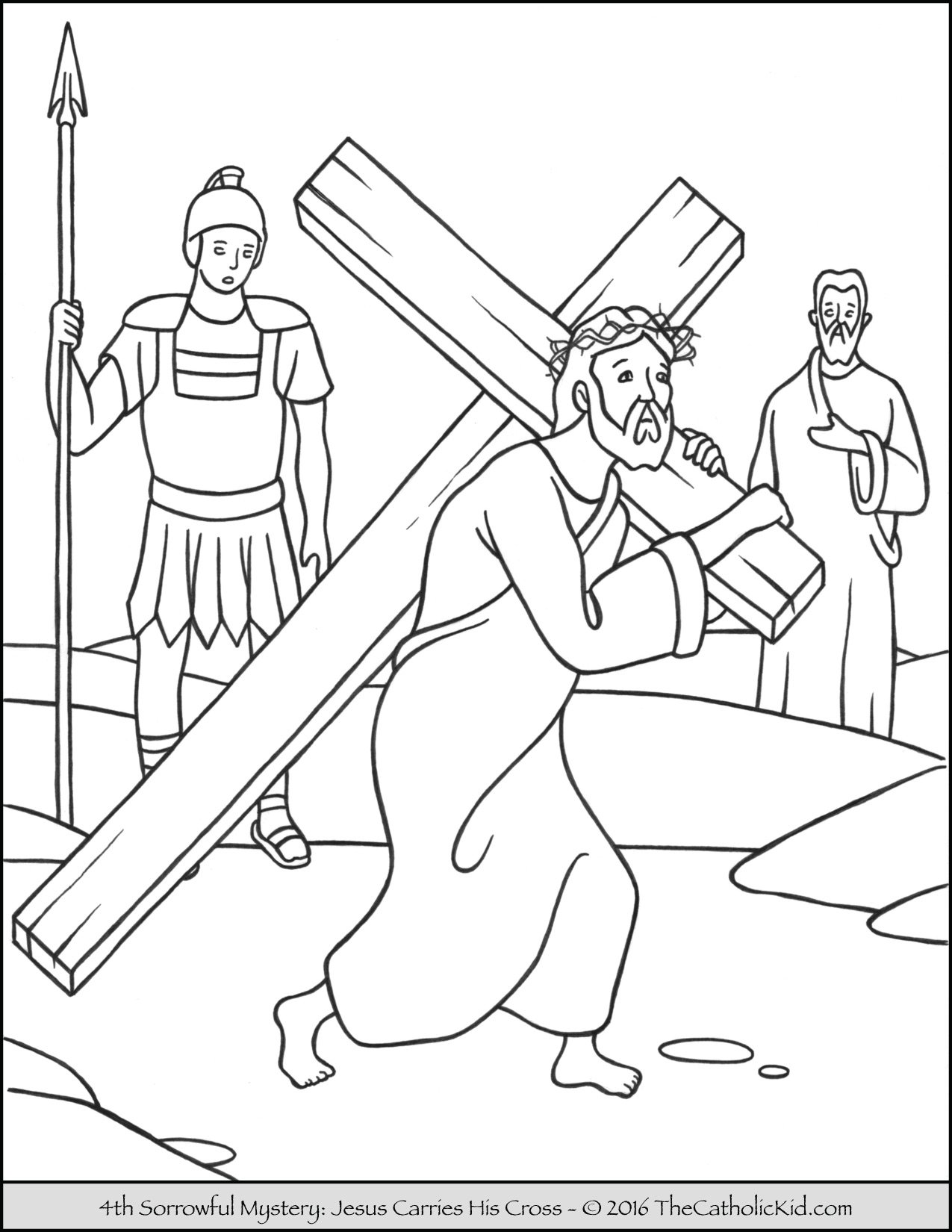 Sorrowful Mysteries Rosary Coloring Pages - Jesus Carries His Cross
