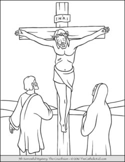Sorrowful Mysteries Rosary Coloring Pages - The Crucifixion