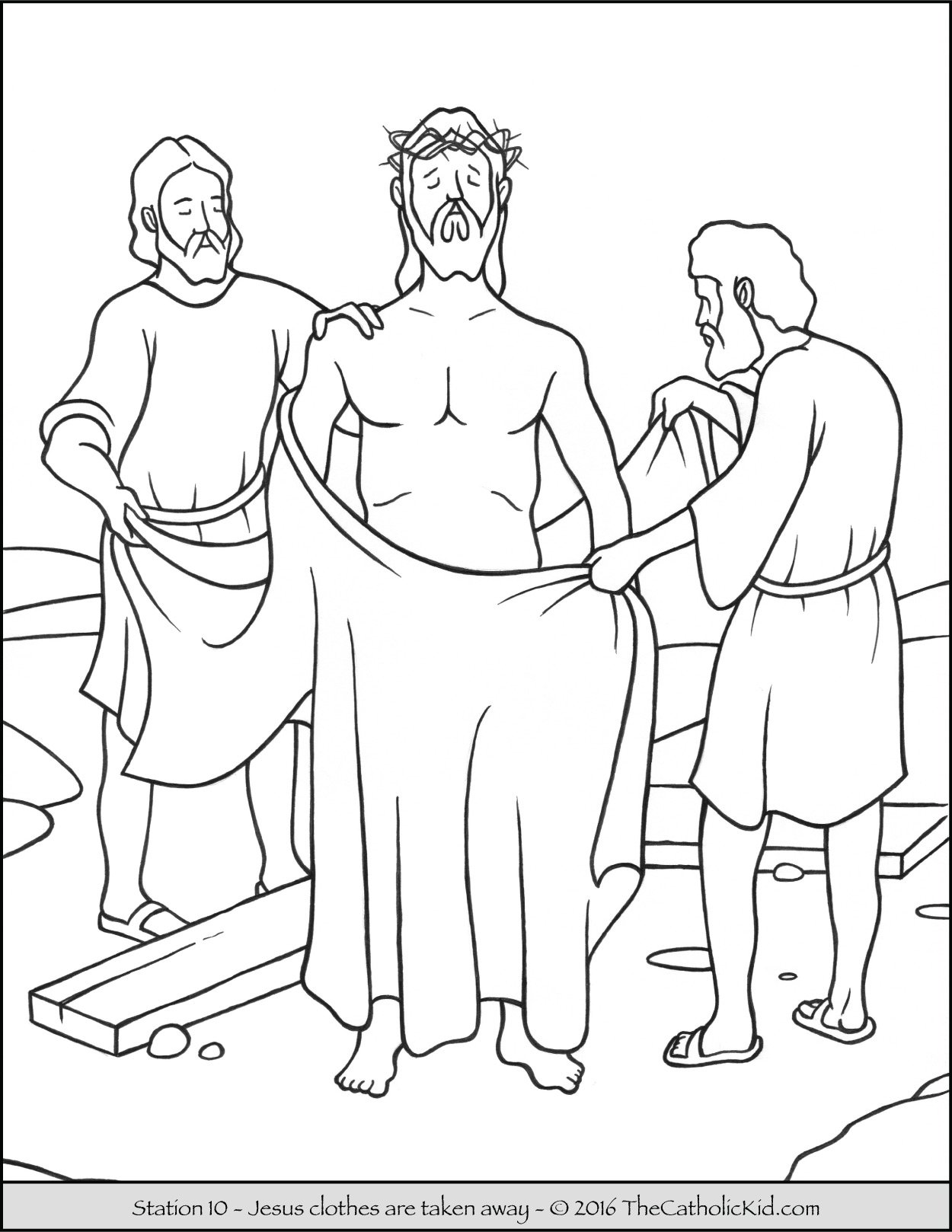 Stations of the Cross Coloring Pages 10 - Jesus clothes are taken ...