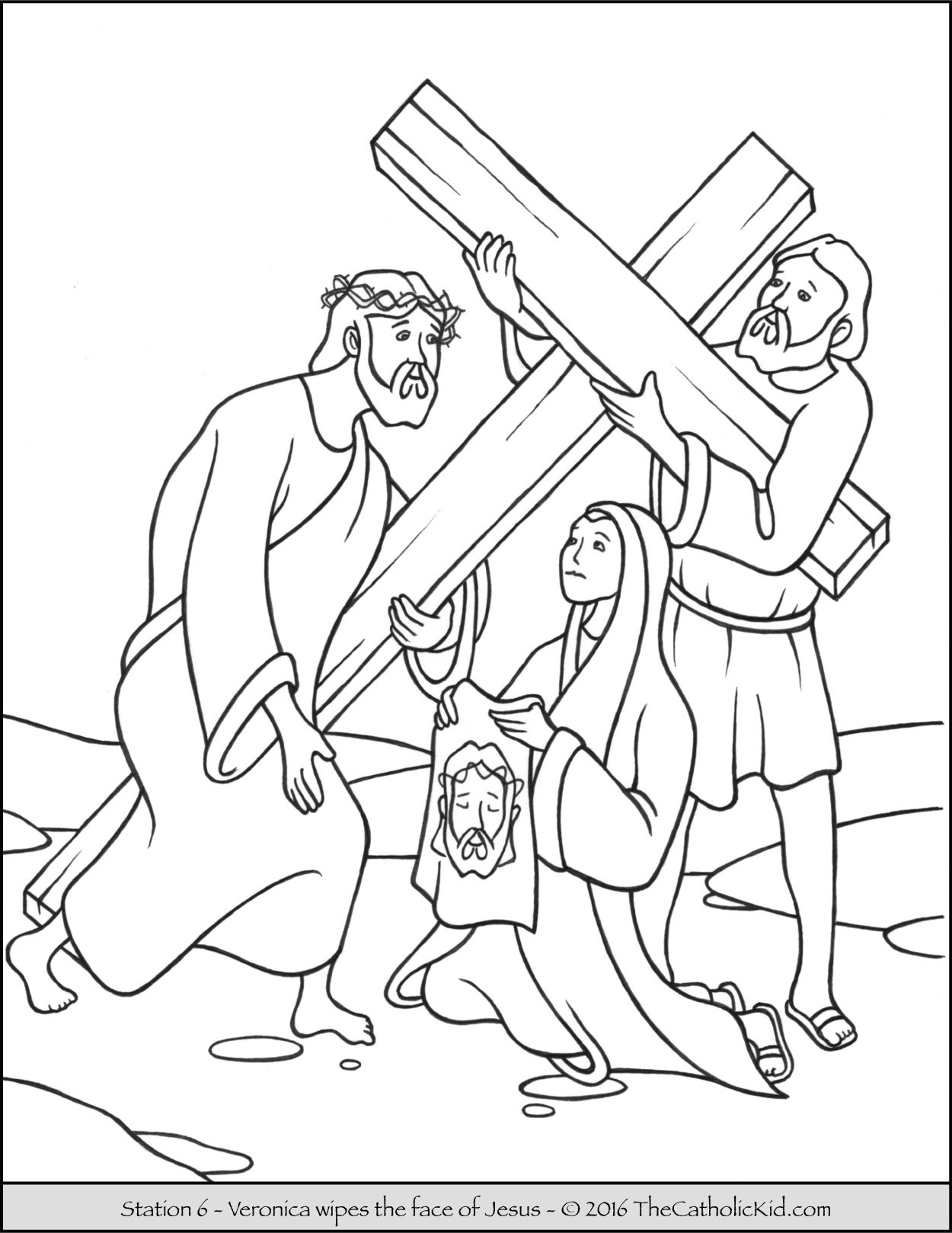 Stations of the cross coloring pages 6 veronica wipes the face of jesus