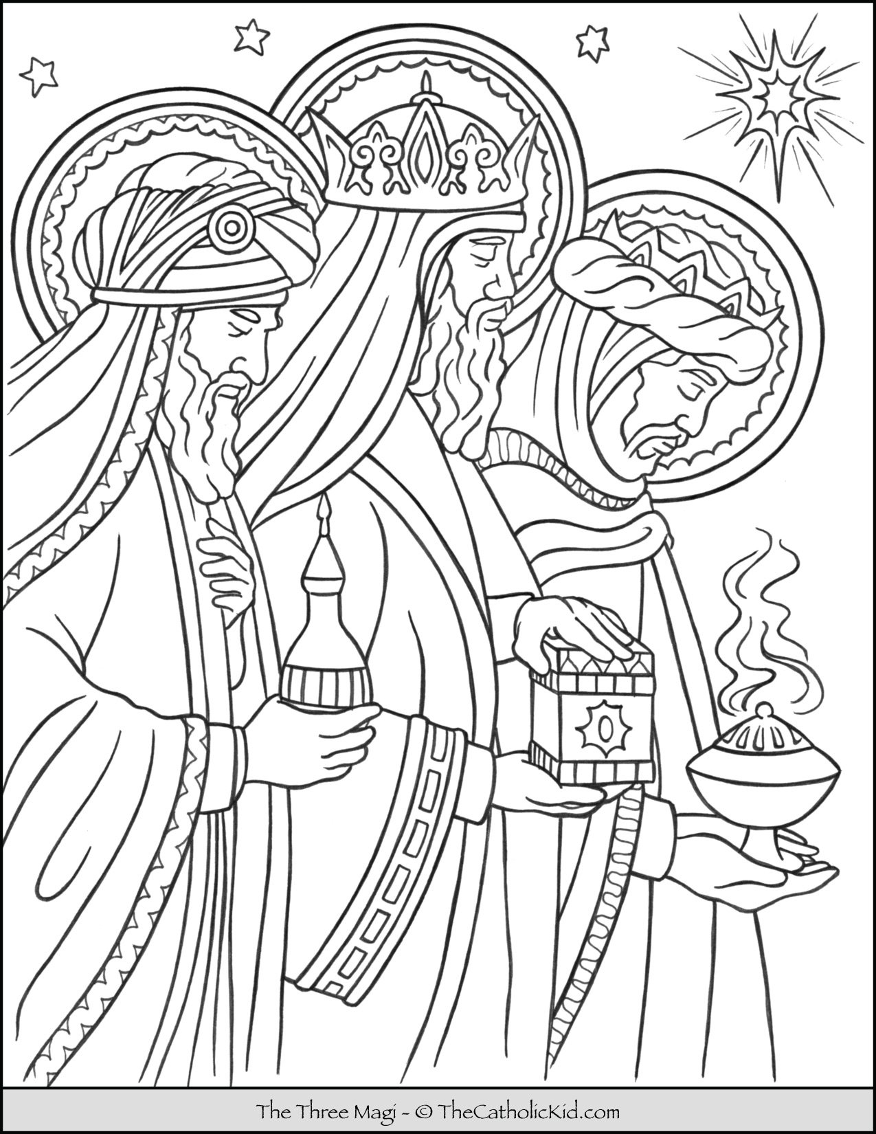 Three Magi Wise Men Coloring Page
