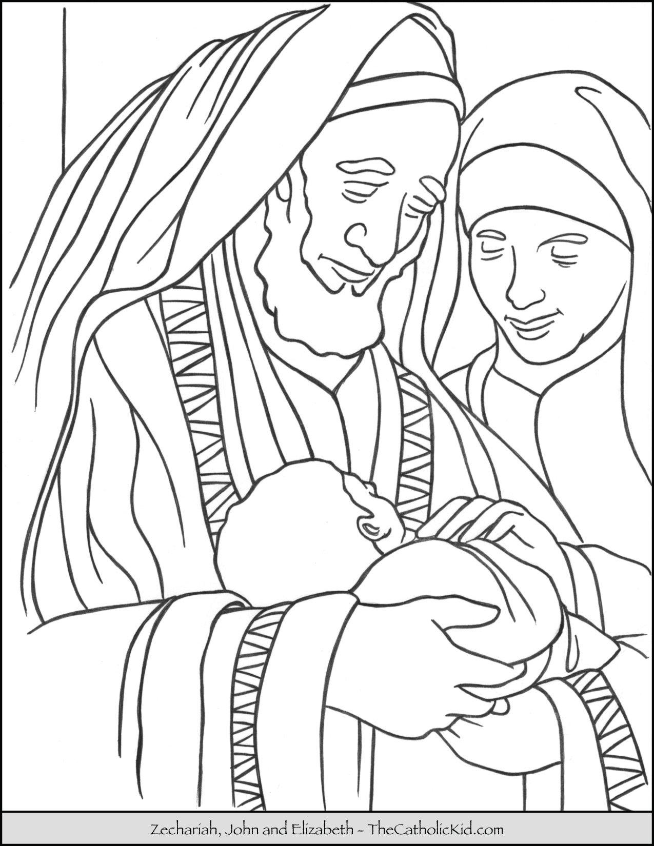 Zechariah John Elizabeth Saint Coloring Page