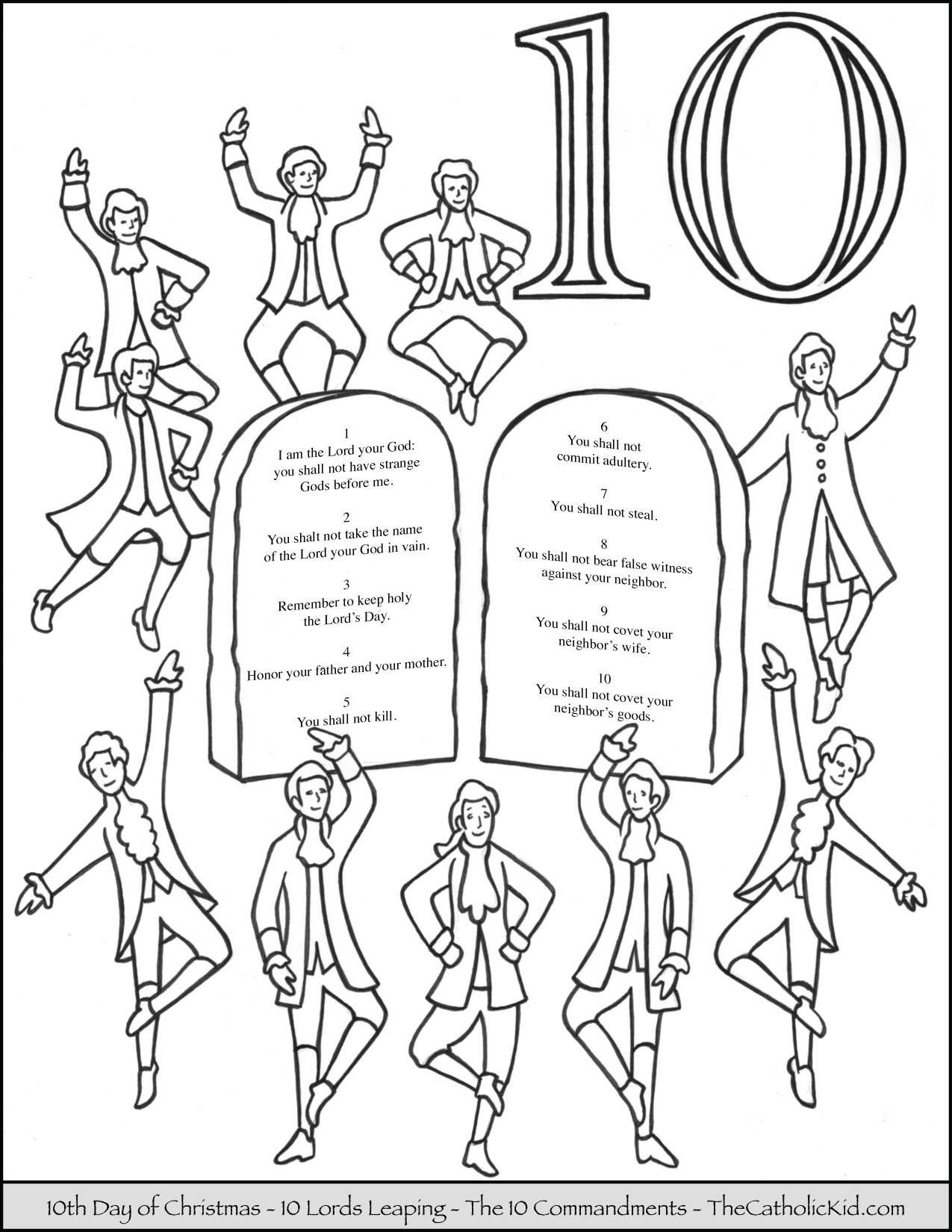 Tenth Day of Christmas Ten Lords Leaping Coloring Page